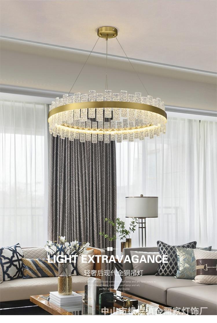 Lustre de luxo com lâmpada de cobre,