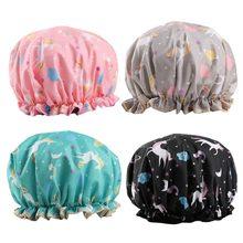 Unicorn toucas de banho, dupla camada banho chapéu para mulher para cobrir cabelos longos e grossos, reutilizável à prova dbonnet água bonnet