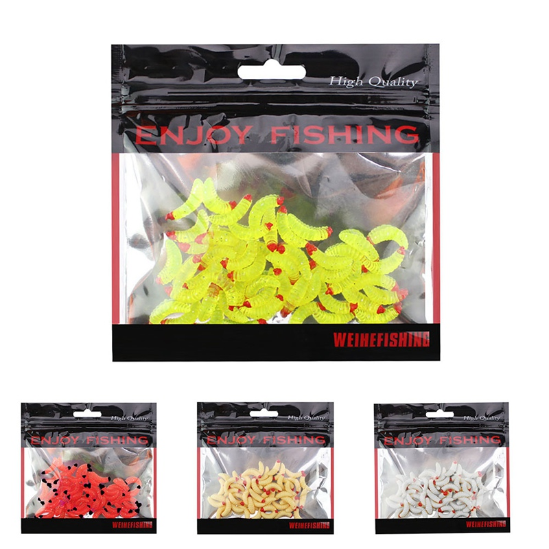 50pcs/kit Fishing Wobblers Artificial Fishing Lures False Bread Worm Shaped Lifelike Reusable Beige Red White Soft Worms BaitZi