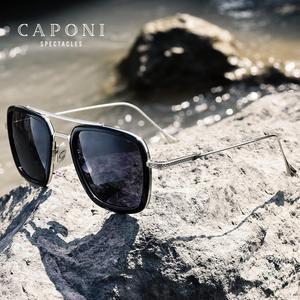 Image 3 - CAPONI גברים כיכר משקפי שמש Photochromic טוני סטארק איש ברזל בציר Eyewear מקוטב אופנה גוונים לנשים UV400 BS6618