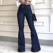 Женские джинсы с высокой талией, джинсовые расклешенные брюки, уличный стиль, синие обтягивающие винтажные брюки, расклешенные джинсы, африканские штаны, брюки
