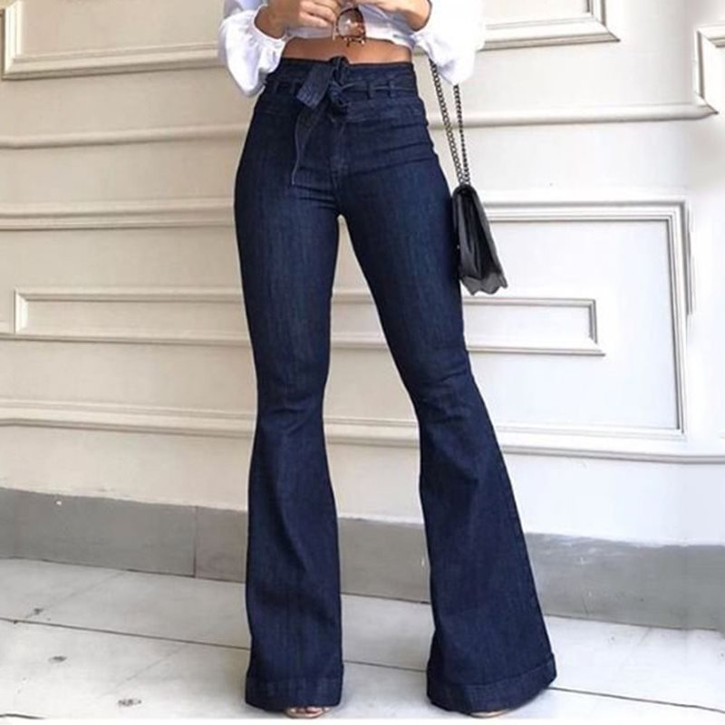 High Waist Women's Jeans Denim Flare Pants Street Style Blue Skinny Vintage Trousers Bell Bottom Jeans African Pants Trousers
