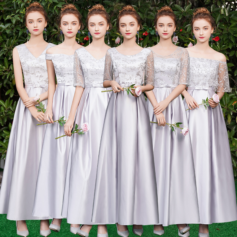 Gray Tulle Long Bridesmaids Dress Elegant Guest Wedding Party Dress V-neck Embroidery Vintage Sexy Dress Prom Azul Royal Vestido