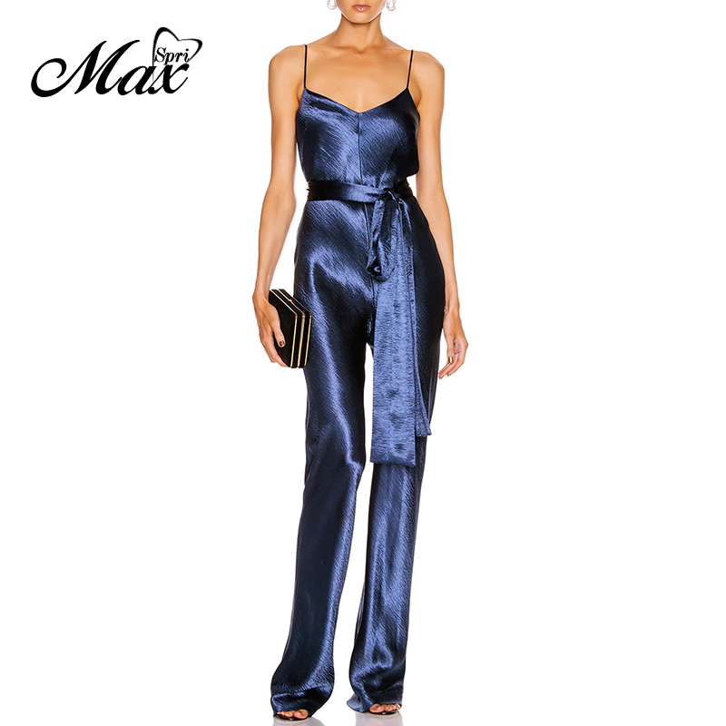 Max Spri 2020 New Sexy V Neck Spaghetti Strap Jumpsuit With Sashes Women Elegant Sleeveless Satin Loose Rompers