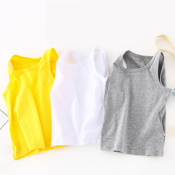 Vests Sleeveless T-shirts Children Summer Vest Top Baby Boys Outfit Kid Boy Girl Solid Tops Clothes Cotton Black Tee Beach Play girl clothes summer 2018 black beach long dress baby children female sleeveless sling vest a line dress tunic for the beach