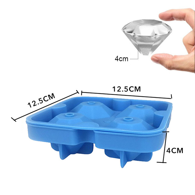1PC 3D Skull Silicone Ice Cube Maker Form For Ice Candy Cake Pudding Chocolate Molds 4 Cell Ice Mold Square Shape Trays Molds 6
