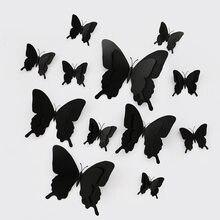 Pterosaurio de doble capa 3D, 12 unidades por juego, pegatina de pared de mariposa para decoración del hogar para boda, mariposas grandes, imán, pegatinas para nevera
