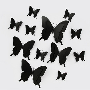 12pcs/set 3D Double layer Pterosaur butterfly Wall Sticker Home decoration for wedding large Butterflies Magnet Fridge stickers