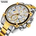Temeite роскошные золотые часы для мужчин из нержавеющей стали водонепроницаемые спортивные кварцевые часы для мужчин s брендовые модные повс...