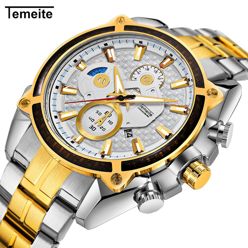Temeite Luxury Gold Watch Men Stainless Steel Waterproof Sport Quartz Watches Mens Brand Fashion Casual Wristwatch Male Relogio