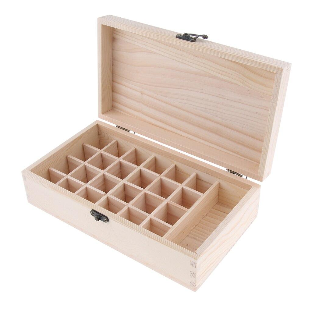 Коробка из натурального дерева для эфирного масла-Вмещает 25 бутылок размером 15 мл и 100 мл