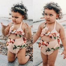 Toddler Baby Girls Swimwear Flower Print Bikini Swimwear Halter One-piece swimsuit Bathing Suit Beachwear Summer Girls ##3 cheap MUQGEW Active O-Neck Pullover 20*20*5 Polyester Sleeveless REGULAR Fits true to size take your normal size girls swimwear for kids