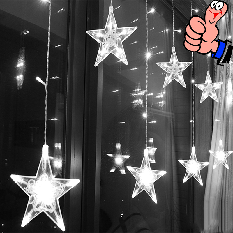 2.5M 220V EU Plug LED Star Curtain Light Outdoor String Lights Christmas LED Garland Lights For Party Wedding Holiday Decoration