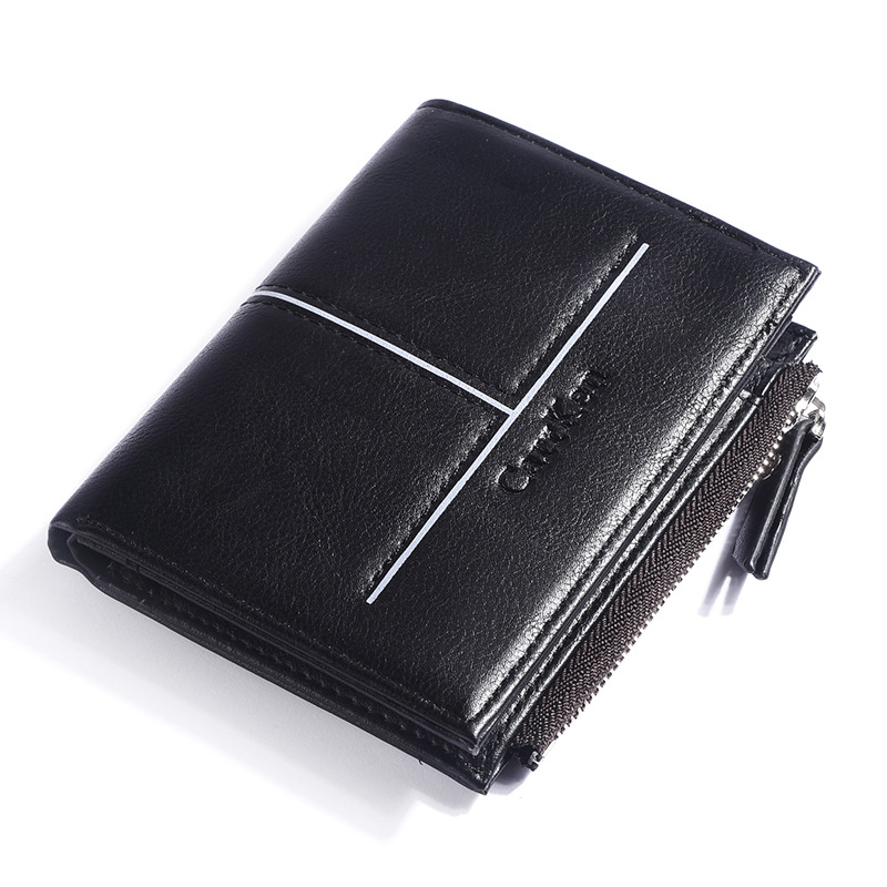 New Business Casual Mens Wallet PU Leather Men Wallets Purse Short Male Clutch Leather Wallet Mens Money Bag Card Bag Zipper