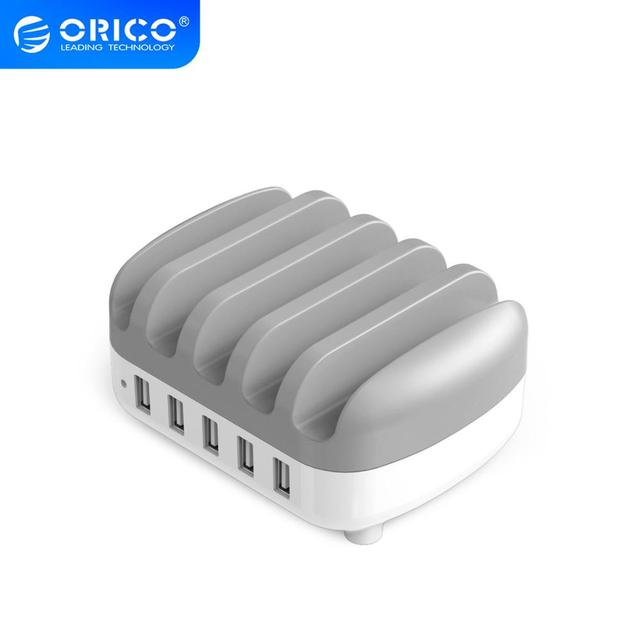 ORICO 5 Port USB Charger Station Dock with Phone Holder 5V2.4A*5 40W Max For Xiaomi Huawei iPhone and Tablet PC