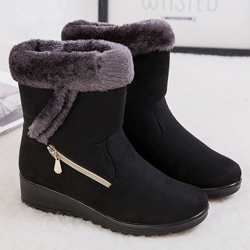 2019 Winter Women Boots Warm Plush Ankle Snow Boots Women Shoes Fashion Zipper Women's Winter Boots Plus Size Zapatos De Mujer