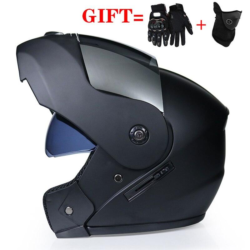 2 Gifts Unisex Racing Motocross Helmets Modular Dual Lens Carbon Motorcycle Helmet Full Face Safe Helmet FlipUp Cascos Para Moto