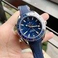 Роскошные брендовые Новые Мужские автоматические механические часы независимая GMT 007 светящаяся резиновая Синяя Керамическая рамка сапфир...