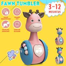 Giraffe Tumbler Toy Baby Rattles Tumbler Doll Cartoon Giraffe Toy Tumbler Music Bell Toy Colorful Learning Education Toy For Bab