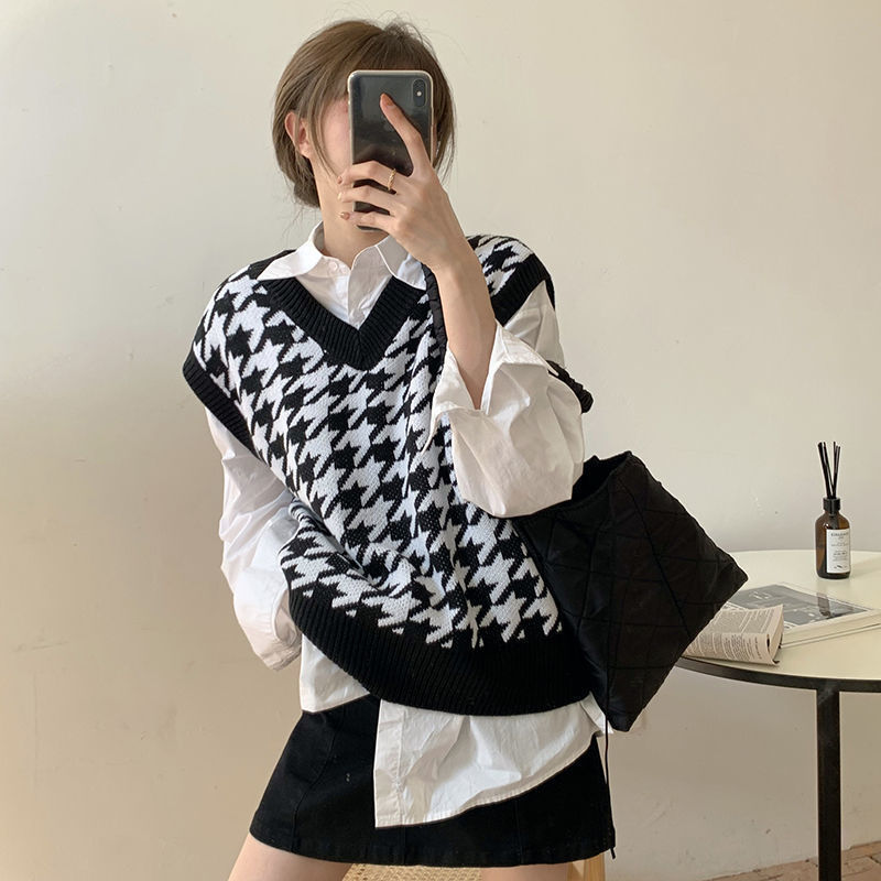 Hdd04713fd52b4ea2afa25493964d7d36f Women Sweater Vest Autumn Houndstooth Plaid V-neck Sleeveless Knitted Vintage Loose Oversized Female Sweater Vest Tops