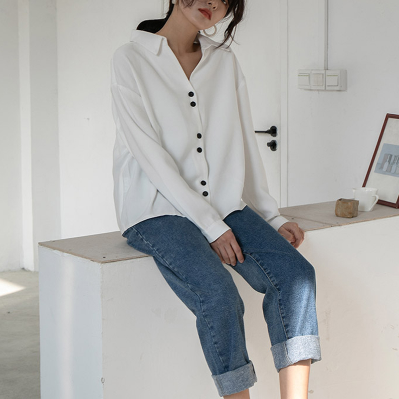 Minimalist V-neck Shirt Women's  2020 Spring Casual Blouse French Loose And Thin Long Sleeve Top Vadim Office Ladies Classic