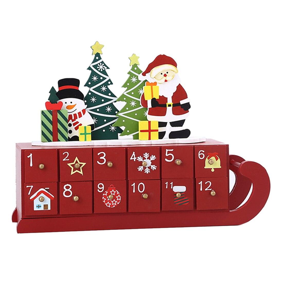 Рождественский календарь с обратным отсчетом, деревянный шкаф с датой, ящик для хранения календаря сани