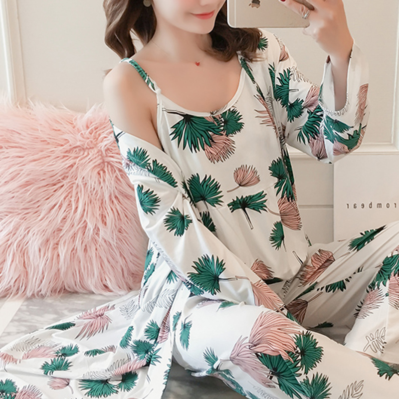 Woman Pijamas Set Sling Milk Silk Cute Pajamas 3 Peices Sleepwear For Women Long Sleeves Breathable Sexy Robe Homewear
