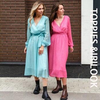 Toppies 2021 Women Dress Heart Print vestidos Wrap around v neck Long sleeve Fashion Pink Chiffon Dresses 1