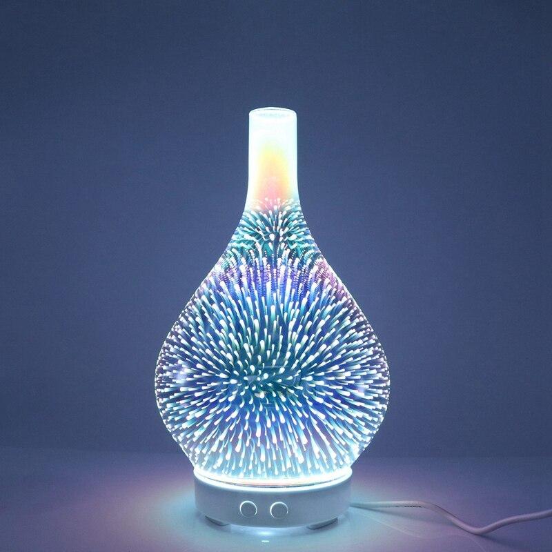 3D fajerwerków szklany wazon kształt nawilżacz powietrza z 7 kolorów Led Night Light zapachowy olejek eteryczny dyfuzor Mist Maker ultradźwiękowy Humi