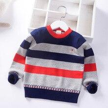 Пуловер для мальчиков г. Осень-зима, стиль, корейский стиль, Детский свитер в полоску с вырезом лодочкой модный детский свитер