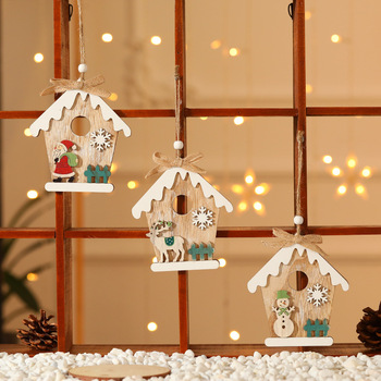 Colgante de árbol de Navidad de madera artesanal de alce de Año Nuevo 2021, adornos navideños, adornos navideños para el hogar, decoración navideña 2020