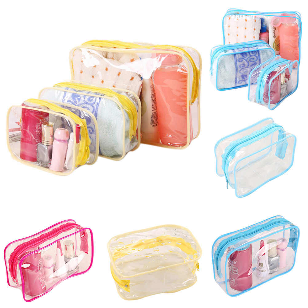 Jelly Plastic 1pc Transparent Organizer bags Cosmetic Bags Makeup Casual Travel Waterproof Storage bag Toiletry Wash Bathing