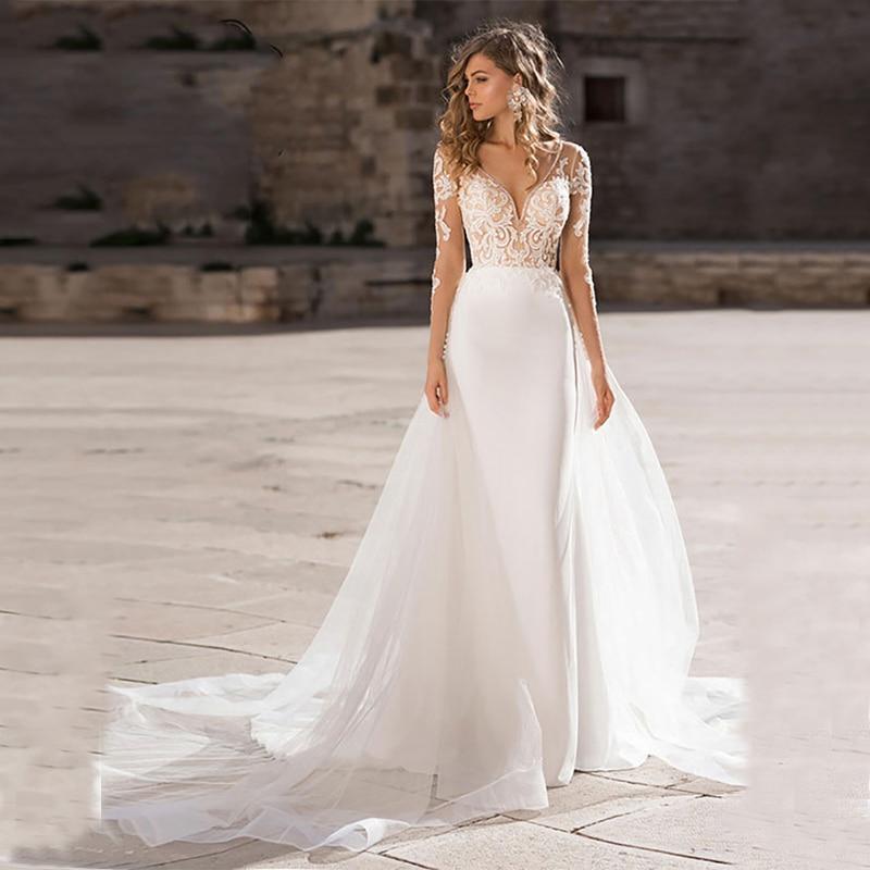 Verngo 2019 Boho Wedding Dress Elegant Lace Appliqued Bridal Gown Custom Made wedding Dress New Design Mermaid