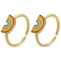 Anillos de dedos abiertos esmaltados de arcoíris para mujer y niña, anillos de Color dorado con aceite que gotea, joyería elegante para fiesta de verano