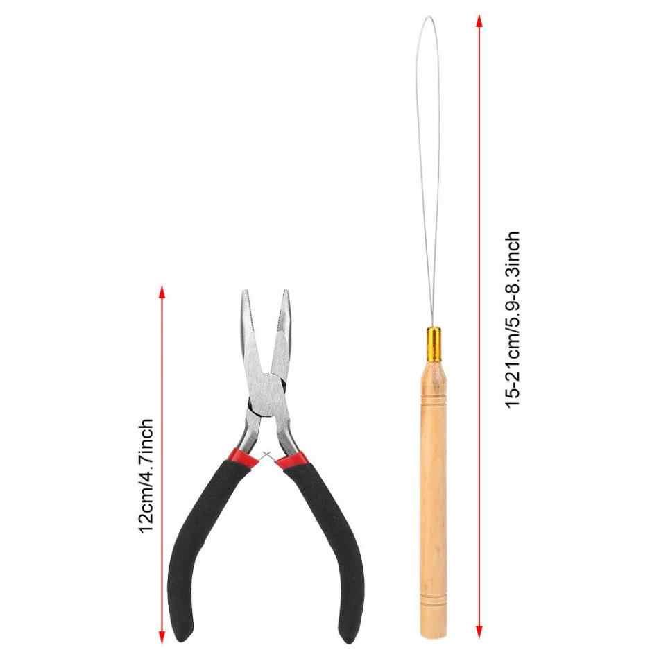 4 stücke Haar Verlängerung Kit 500 stücke Silikon Micro Links Perlen Ringe + 2 stücke Ziehen Haken + Zange Haar verlängerung Stying Werkzeug Kits