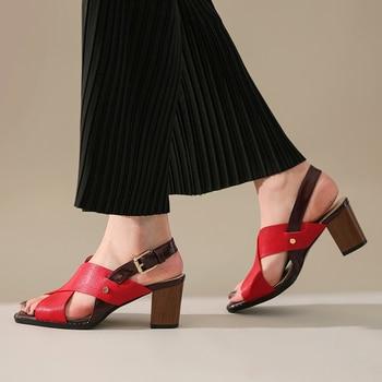 Karinluna New Wholesale Top Quality Genuine Leather Plus Size 42 High Heels Summer Women Shoes Woman Sandals Female