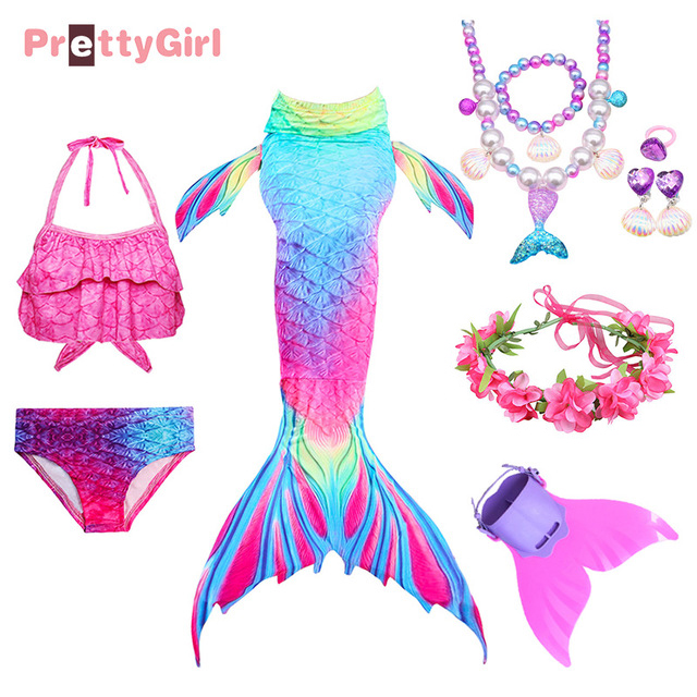 PrettyGirl Kids Girls Swimming Mermaid Tail With Monofin Flipper Mermaid Costume Cosplay Children Swimsuit Fantasy Beach Bikini