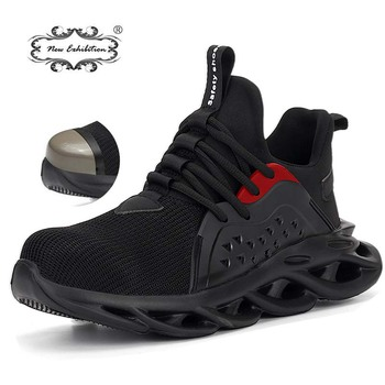 New exhibition Men sneaker Outdoor Breathable Mesh Safety Shoes Fashion Lightweight Steel Toe Anti-Smashing Protective Work Boot lightweight breathable men safety shoes steel toe work shoes for men anti smashing construction sneaker