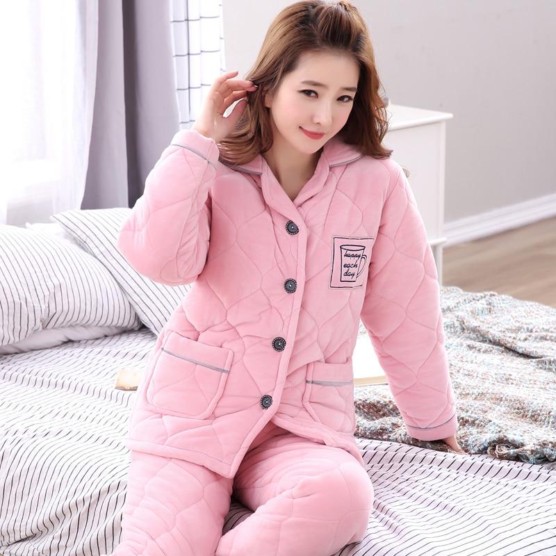 2019 Winter Paare Dicke Warme Baumwolle Pyjamas Sets für Frauen Langarm Strickjacke Nachtwäsche Pyjamas Männer Lounge Homewear Kleidung - 2