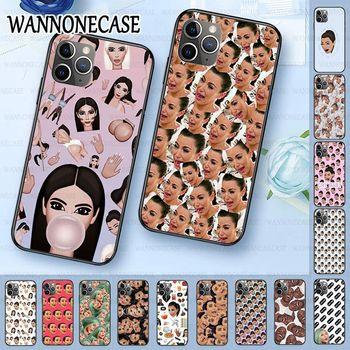 Funda de silicona suave para teléfono iphone 11pro 5s 6s 7 8plus x xs xr xsmax coque funda de móvil Kimoji Kim Kardashian cara divertida