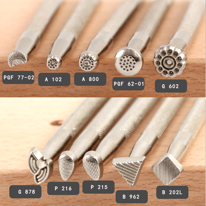 Leathercraft Stamping Tools Kit for Radiation Pattern Designs, Stamp Working Making Carving Handmade Art DIY Leather Product Set