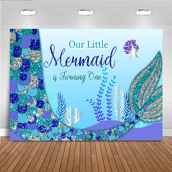 Little Mermaid Backdrop Cartoon Girl's 1st Birthday Party Background Under the Sea Photography Glitter Fishtail Photo Studio