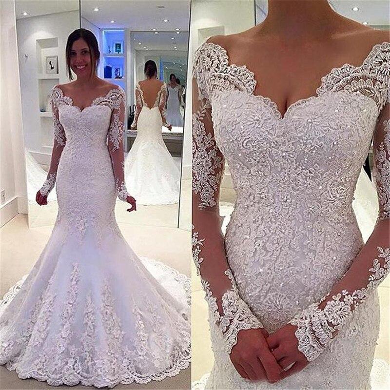 Elegant V Neck Mermaid Long Sleeves Luxury Wedding Dress Boho Backless Bridal Gowns Appliques Beaded Custom Made Bride Dresses