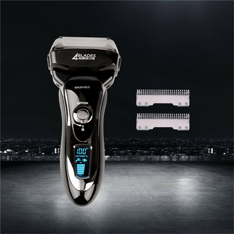 Rasoir électrique rasoir alternatif quatre lames tête rasoir hommes Machine rasage LCD affichage barbeador eletrico + lame