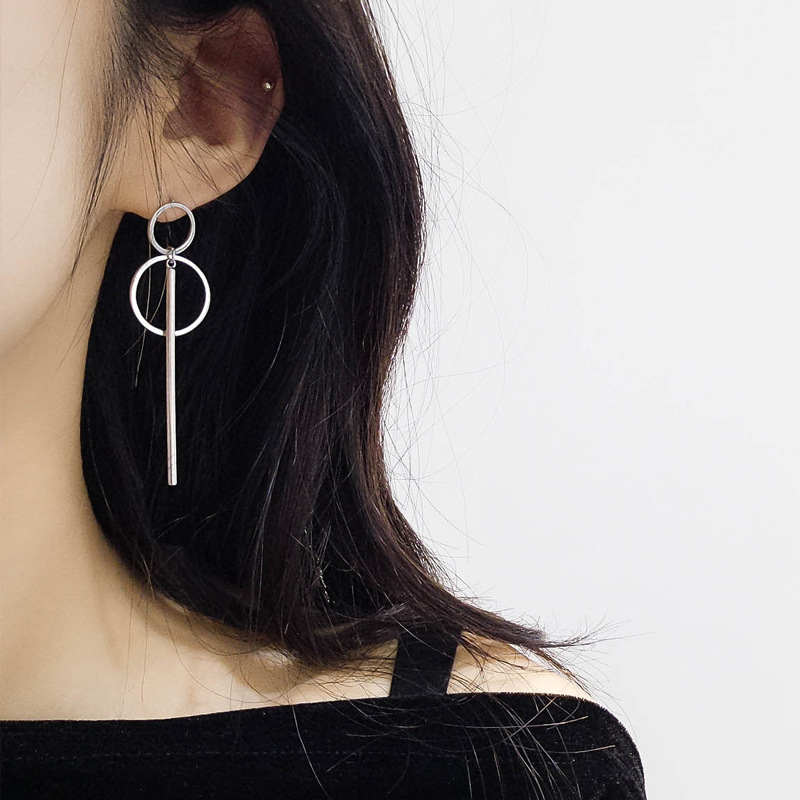 Vintage Long Drop Earrings For Women 2019 Fashion Jewelry Korean Double Circle Metal Geometric Gold Hanging Dangle Earring
