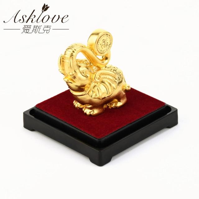Glück Elefanten Feng Shui decor 24K Gold Folie Elefanten Statue Figurine Büro Ornament Handwerk Sammeln Reichtum Home Office Decor