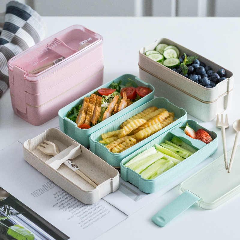 900ml Portatile Sano Materiale Lunch Box 3 Strato di Paglia di Grano Scatole Bento Forno A Microonde Piatti E Posateria Contenitore di Conservazione Degli Alimenti Foodbox