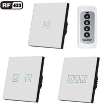 цена на EU/UK Standard 1/2/3 Gang RF433 Remote Control Wall Switch, Wireless Smart Light Switches, Glass Panel Touch Switch AC 110V-220V