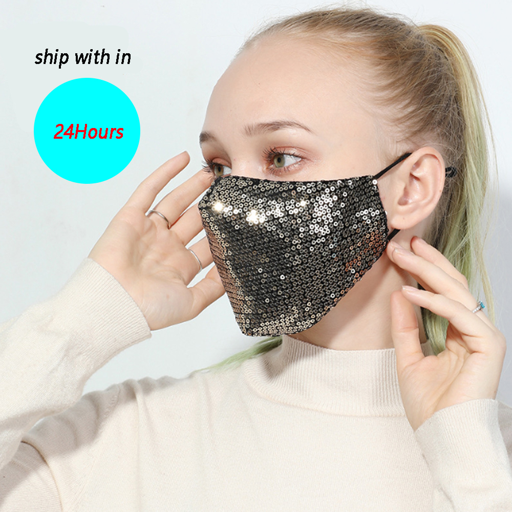 1PC Fashion Unisex Cotton Breathable Shining Sequin Dustproof Mouth Masks Anti fog Haze Mouth Respirator Face Cover|Women