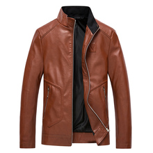 Winter Men Leather Jacket Casual Motorcycle Coat For Solid Coats Jackets Plus Size 5XL Regular